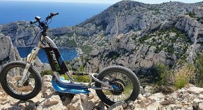 Randonnée en trottinette électrique Tout Terrain dans le Parc national des Calanques de Marseille