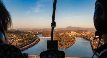 Vol en hélicoptère au dessus de Châteauneuf du Pape