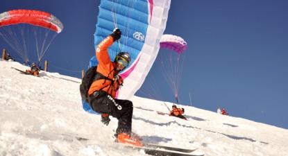 Initiation de parapente à skis à Valfréjus