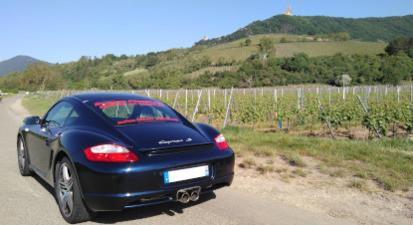 Pilotage sur Route d'une Porsche Cayman S en Centre Alsace près de Colmar
