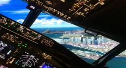 Simulateur de vol sur verin d'un Boeing737 à Pontoise