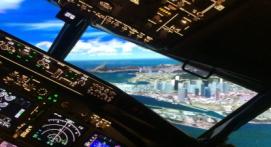 Simulateur sur verin d'avion de ligne Boeing737 près de Paris
