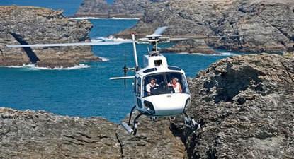 Vol en Hélicoptère au dessus du Golfe Morbihan et de Belle-Île