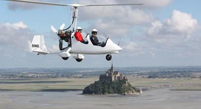 Baptême en ULM Autogire au dessus du Mont-Saint-Michel